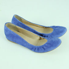 J Crew Cece Italian-Made Ballet Flats Womens Size 10.5 10 1/2 Blue Suede Shoes