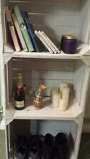 3 X WHITE PAINTED EUROPEAN VINTAGE WOODEN APPLE CRATE  BOX SHABBY COTTAGE CHIC