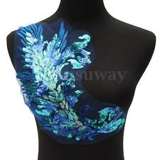 Blue Sequin Floral Patch Embroidery Applique Collar Clothes Sew Bridal Wedding