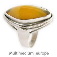 Fischland Butterscotch Bernstein Silber Ring 60er Jahre silver amber 60s
