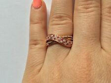 14K ROSE GOLD PAVE DIAMOND PINK SAPPHIRE CROSSOVER INFINITY COCKTAIL RING
