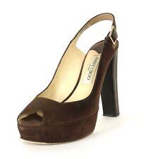 JIMMY CHOO $695 Coffee Brown Suede LEXY Wood Heel Platform Slingbacks 37.5
