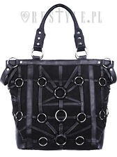 Restyle O-Ring Tote Denim Metal Emo Punk Skull Skeleton Black Bag Purse Handbag