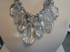 "CHICO'S 16"" SILVER CRYSTAL  NECKLACE W/EARRINGS  NWOT"