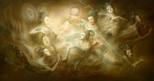 "Oil painting Dunhuang frescoes flying Legendary seven fairies canvas 24""x36"""