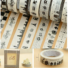 10Pcs DIY 10M Washi Paper Tape Adhesive Sticky Decorative Scrapbooking Sticker