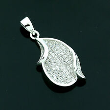Sterling Silver Cubic Zirconia Micro Pave Set Fancy Pendant -FREE Gift Box