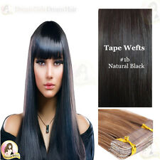 European Tape/Skin Weft  Remy Human Hair Extensions  24'' 20pcs natural  black
