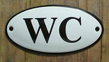 CLASSIC ENAMEL WC TOILET SIGN. BLACK TEXT ON A WHITE BACKGROUND. 10x5cm.