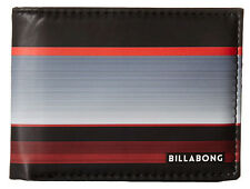 "BRAND NEW + TAG BILLABONG MENS / BOYS TRI-FOLD WALLET ""SPINNER"" BLACK RED"