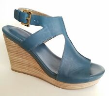 Me Too ATLANTIC6 Blue Leather Size 8 M Open Toe Wedge Sandals Ankle Strap
