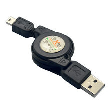 Hot Black Retractable USB A Male to Mini USB B 5-Pin Charging Sync Data Cable