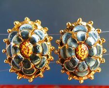 Patent number 1967965 unique gold tone enamel 3D clip on EARRINGS
