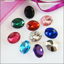 60 New Charms Mixed Faceted Oval Acrylic RhinestonePoint Back 8x10mm