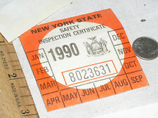 1 VINTAGE UNUSED 1990 NY N.Y.S NEW YORK STATE CAR AUTO SAFETY INSPECTION STICKER