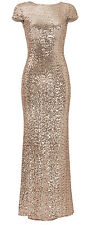 Badgley Mischka Blush Rose Gold Sequins Award Winner Cowl Back Gown Dress 2 XS