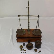 Antique Brass Jewelry Balance Scale & Wood Box with Weights