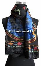 Elegant 100% Silk Burnout Velvet Circle Art Oblong Scarf Wrap, Blue/Black (2)