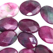 "25mm faceted watermelon tourmaline jade flat oval beads 7.5"" strand"