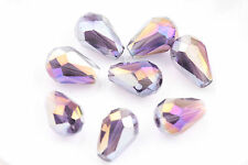 20 Faceted Teardrop glass crystal Charm Finding Loose Spacer beads 8x12/16x10mm