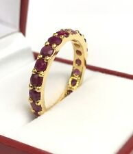 14k Solid Yellow Gold Eternity Band Ring, Natural Ruby 2.5CT, Sz 8