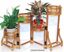 Handmade Rattan Wicker Plant Flower Stand Natural 4 Tier Planter Color Cognac