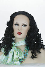 Wig With Braided Head Band Medium Long Red Wavy Curly 3/4 Cap Long Spiral Curls