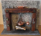1/12, Dolls House miniature Handmade old Tudor Cottage Fireplace & Acc INC! LGW