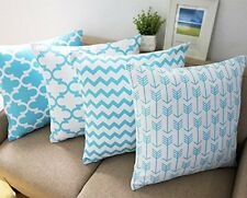 Light Blue and White Howarmer Cotton Canvas Decorative Throw Pillow Cover for...