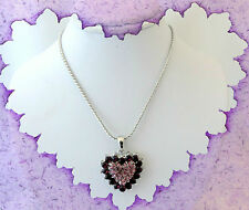 AMETHYST PURPLE CRYSTAL SILVER LOVE HEART NECKLACE~VALENTINES DAY GIFT FOR HER