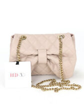 BNWT Red by Valentino Mini Nude Quilted Bow Handbag With Gold Chain W18 H13 D5