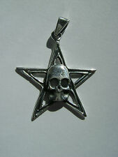 Sterling Silver Large Penticle Pentagram With Skull Pendant New