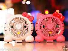 Hello Kitty Portable Rechargeable USB Desktop Low Noise Cooling Double Fan(White