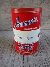 """Vintage """"Husman's"""" Advertising Potato Chip Tin Can - """"Easy To Digest"""" (#4)"""