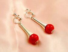 Boucles d`Oreilles Clips Pendante Perle Rouge Class Original Soirée Mariage F2