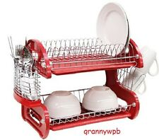 Red Two Tier Dish Drainer Plastic Space Saving Dryer Rack Dishes Silverware RV