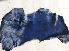 sheepskin leather hide Dark Blue Toscana long silky hair w/Periwinkle suede back