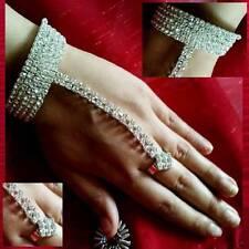 Armspirale Handschmuck Handkette mit Ring Sklavenarmband Strass Hochzeit Sari