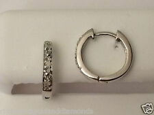 Kids Child Round Pave Set Diamonds Hoops Earrings Solid White Gold Hoop Dangle