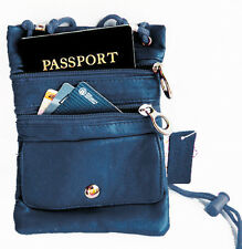 Blue PASSPORT Men Lady Leather ID Card Holder Adjustable Neck Pouch Travel Bag