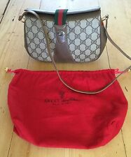 Authentic Gucci Vintage Shoulder Bag Serial Number Monogram Style Red & Green