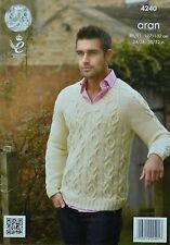 KNITTING PATTERN Mens Long Sleeve V-Neck Cable Jumper Aran King Cole 4240