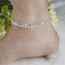 Femmes Pied Chain Bead Bijoux Argent Bracelet cheville Bracelet Barefoot Sandal