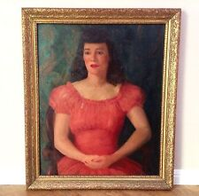 Large Art Deco Portrait Oil Painting, Woman in Red, 1942 WPA Era Artist Signed