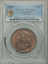 1897 Great Britain Penny, Low Sea Level, PCGS MS 64 RB Red Brown
