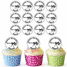 30 Pre-Cut Army Sniper Gun Edible Birthday Cupcake Toppers Mens Any Name & Age