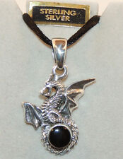 Sterling Silver Dragon and Black Onyx Pendant  (11337)