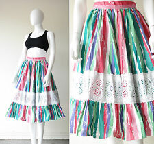 Vintage 80s does 50s Rockabilly Watermelon Striped Midi Swing Day Skirt