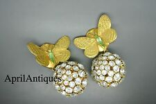 Vintage Philippe Ferrandis butterfly clear rhinestones large ball drop earrings