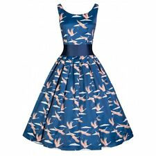NEW VINTAGE 50'S STYLE LANA BLUE CRANE ROCKABILLY SWING PARTY DRESS SIZE 16